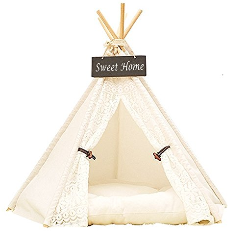 Pet Teepee Dog & Cat Bed DEWEL Portable Washable Dog Tent Lace Style Pet Sweet House for Dog Cat Pet (Without Cushion)