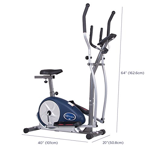 Body Champ BRM3171 Programmable Dual Trainer Elliptical Trainer and Exercise Bike with Seat and Heart Rate Pulse Sensors by