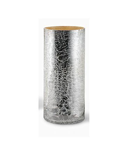 """- Serene Spaces Living Crackled Silver Glass Vase – Handmade, Vintage-Inspired Silver Vase, Use for Home Décor, Event Centerpieces and More, 4.75"""" D x 11"""" H"""
