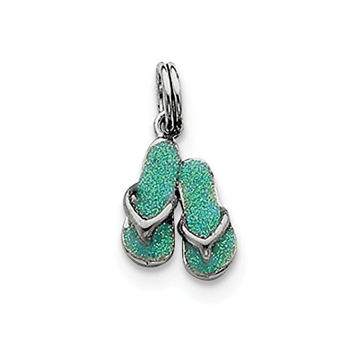 Enamel Charm Flip Flop (ICE CARATS 925 Sterling Silver Green Enamel Flip Flops Pendant Charm Necklace Sea Shore Sal Fine Jewelry Ideal Gifts For Women Gift Set From Heart)