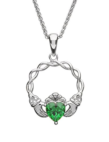 Biddy Murphy Claddagh Necklace Green Cubic Zirconia & Sterling Silver Irish Made
