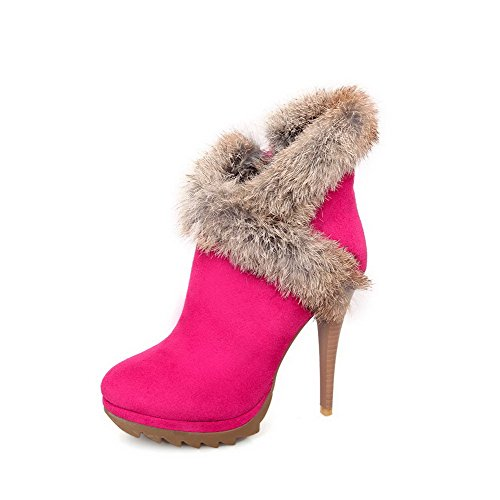 Allhqfashion Women's Chains Round Closed Toe High-Heels Blend Materials Low-top Boots Rosered hAsuvzBFX