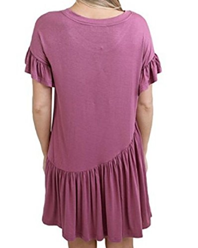 Short Solid Round Color Coolred Stitching Sleeve Women Dresses Pink Ruffled Neck Sx4HwqIw