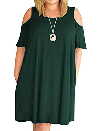 - HBEYYTO Women Plus Size Dresses Short Sleeve Summer Dress Casual T Shirt Dress (Dark Green,XXL)