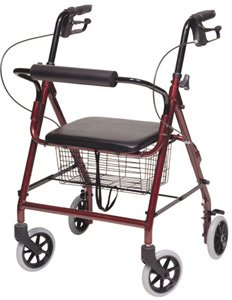 Walkabout Hemi Four-Wheel Rollator: ROLLATOR, ALUM, HEMI, Burgundy by (Alum Wheel)