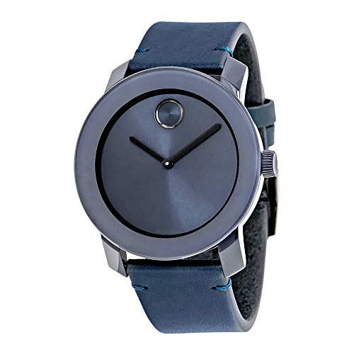 Movado Men's Swiss Quartz Stainless Steel and Leather Watch, Color: Blue (Model: 3600370) (Swiss Men Leather Watch)
