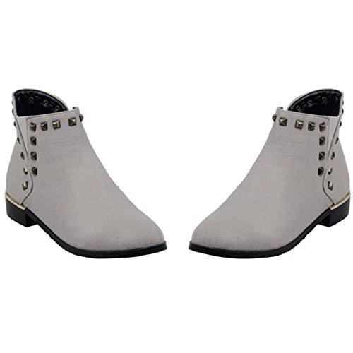 AIYOUMEI Damen Nubukleder Flach Stiefeletten mit Nieten und Reißverschluss Bequem Modern Flat Ankle Boots gCecYHUH