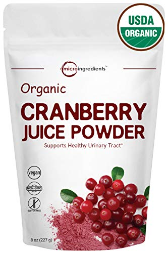 Sustainably US Grown, Pure Organic Cranberry Juice Powder, 8 Ounce, Powerfully Supports Urinary Tract Cleanse, Best Natural Flavor for Smoothie & Beverage Blend. Non-GMO and Vegan Friendly