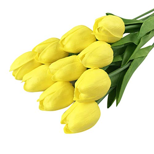 Mikilon 20 pcs Real-Touch Artificial Tulip Fake Flowers Bouquet Home Wedding Party Decor (Pure Yellow)