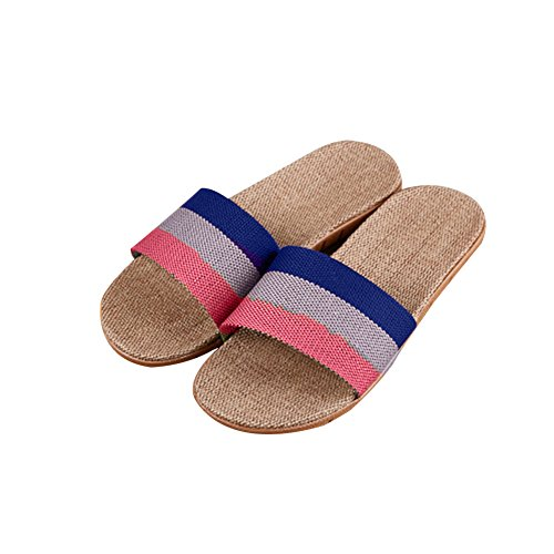 TELLW sbring Autumn Slippers women men Summer linen slippers couples home slippers indoor Anti-Stink wood flooring beach slippers Purple Pink dVHCNb