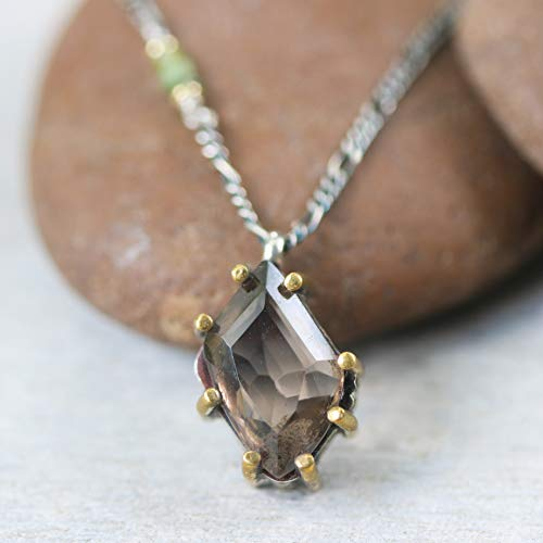 Rhombus faceted smoky quartz necklace in silver bezel and brass prongs setting with green multi sapphire on the -