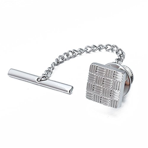 HAWSON Mens Square Tie Tack With Chains Check Tie Clip Button (Silver)