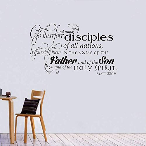 Wall Stickers Decals Art Words Sayings Removable Lettering Go Therefore and Make Disciples of All The Nations Christian God Scripture Bible Verse (Go Therefore And Make Disciples Of All Nations)