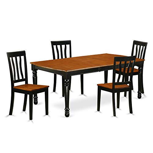 East West Furniture DOAN5-BCH-W Dining Set 5 Pieces Black Cherry