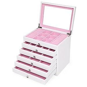 SONGMICS 6-Layer Jewelry Box Extra Large Girls Jewelry Organizer Display Storage Case White UJOW06W