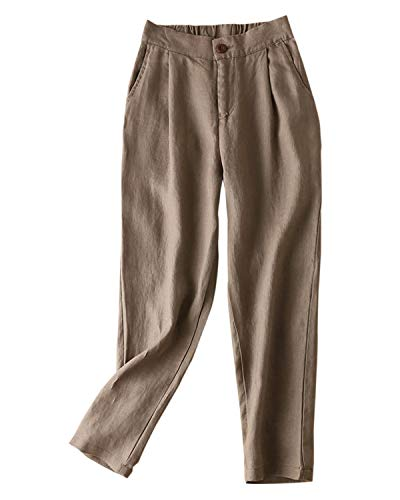 (IXIMO Women's Tapered Pants 100% Linen Front Pleated with Button Closure Elastic Waist Trousers Dark Khaki Large)