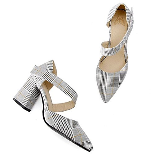 Yellow Pointed Court Shoes Toe Women's TAOFFEN Sandals 5YwAxzRqx