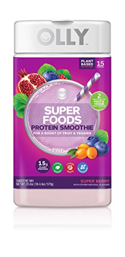 OLLY Super Foods Protein Powder, 15g Plant-Based Protein, Super Berry, 20.4oz (15 Servings)