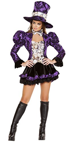 Musotica Purple Ruffle MAD Hatter Girl Halloween Costume - Purple/Black/White - Large by Musotica