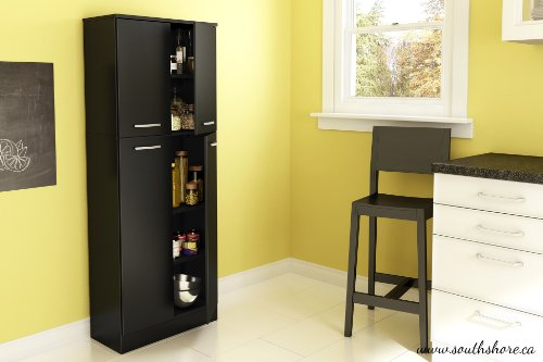 South Shore Axess 4-Shelf Pantry Storage, Pure Black - bedroomdesign.us