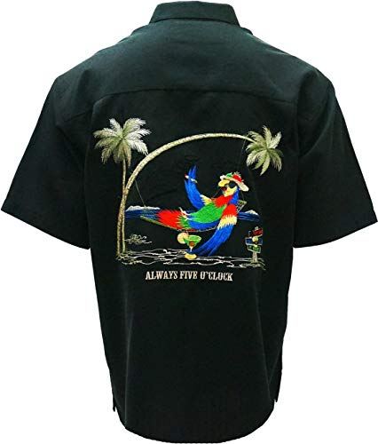 Bamboo Cay - Always Five O'clock, Tropical Style Button Front Camp Shirt (2XL, Black) ()