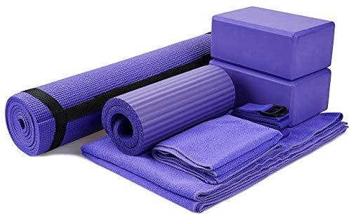 "BalanceFrom GoYoga 7-Piece Set - Include Yoga Mat with Carrying Strap, 2 Yoga Blocks, Yoga Mat Towel, Yoga Hand Towel, Yoga Strap and Yoga Knee Pad (Purple, 1/4""-Thick Mat)"