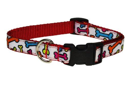 Sassy Dog Wear 10-14-Inch Bones Jewel Dog Collar, Small