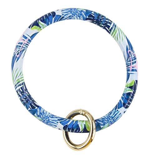 (Muryobao PU Leather Keyring Bracelets Big O Key Chain Bangle - Easy to Holder Round Wristlet Keychain for Women Girls Bamboo Blue)