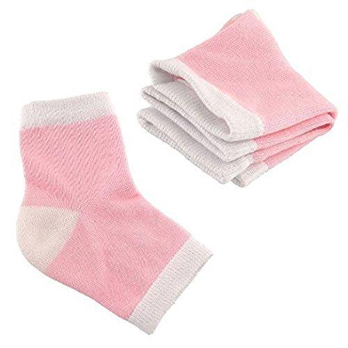 TOOGOO(R) 2 Pairs Spa Moisturising Gel Heel Socks for Dry Hard Cracked Skin Moisturizing Open Toe Comfy Recovery Socks, Pink 125772