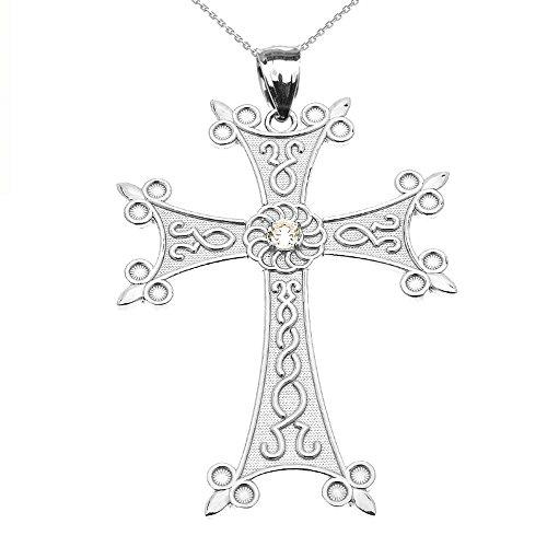 Collier Femme Pendentif 14 Ct Or Blanc Élégant Arménien Croix avec Éternité Oxyde De Zirconium (Large) (Livré avec une 45cm Chaîne)