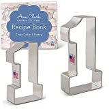 Ann Clark Cookie Cutters 2-Piece Number 1 Cookie Cutter Set with Recipe Booklet, 3.4' & 4.4'