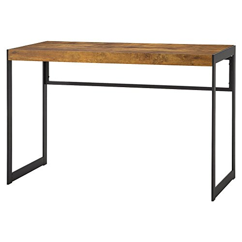 Estrella Writing Desk with Metal Frame Antique Nutmeg and Gunmetal