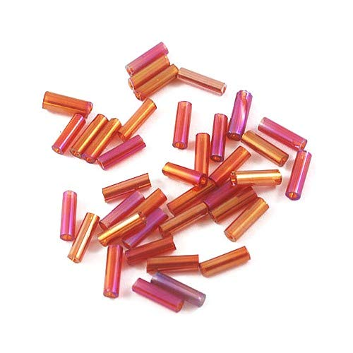 Packet 2200+ Magenta Glass Circa 5-20mm x 2mm AB Bugle Seed Beads Y12695 (Charming Beads)
