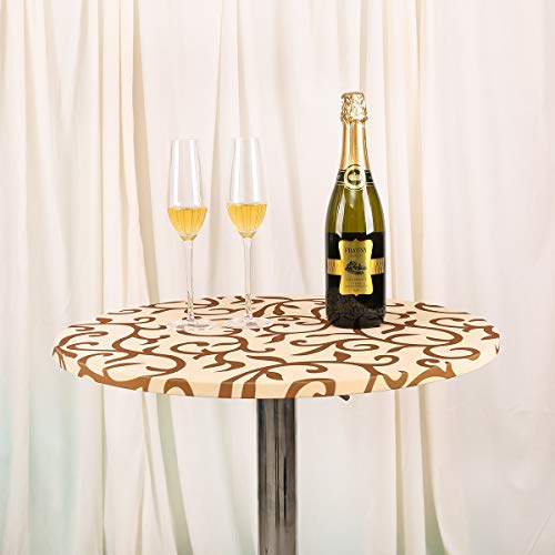 JISEN Cocktail Spandex Round Tablecloth Fitted Stretchable Table Cap 24 Inch Champagne with Brown1 ()