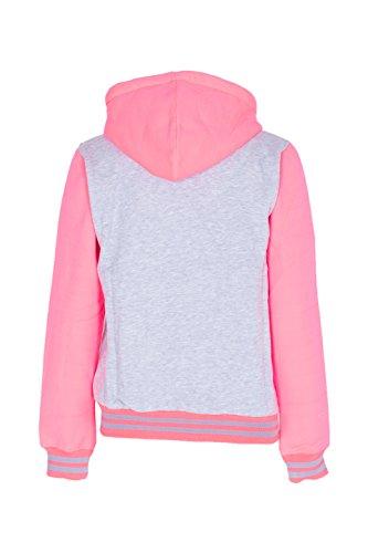 R Baseball Pink Jacket Varsity Grey Donna Con Cappuccio Noroze xEw1FS