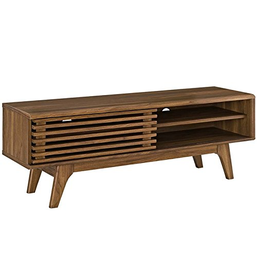 Modway Render Mid-Century Modern Low Profile 44 Inch TV Stand in Walnut Modern Traditional Tv Stand
