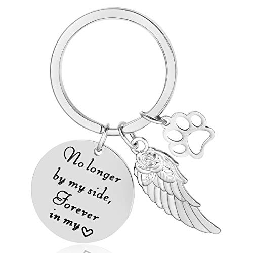 ELOI Pet Memorial Keychain Pet Loss Gift No Longer My Side Forever in My Heart Dog Cat Condolence Keyring