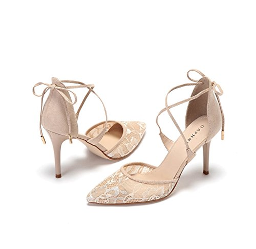 Single Beige Size Heels Shallow a High Elegant Shoes Mouth Sexy New With Lace 36 Fine Tip Color PIxq0Z