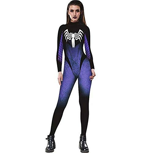 Tsyllyp Halloween Spiderman Bodysuit Sexy Skinny Stretch Costume Jumpsuit]()