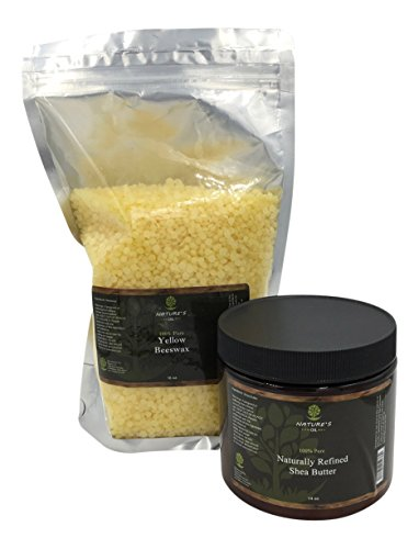 [Cosmetic Grade Beeswax Pellets 1 LB - Emulsifying Wax Pastilles (not Grated Beeswax) & African Refined Shea Butter - Beeswax Organic & Refined Shea Butter & FREE Recipe for DIY Lip Balm] (Deluxe Smoke Mask)