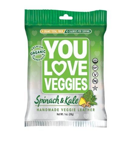 You Love Veggie Premium Organic Veggie Snacks Spinach & Kale Pack of 12 (New Flavor)
