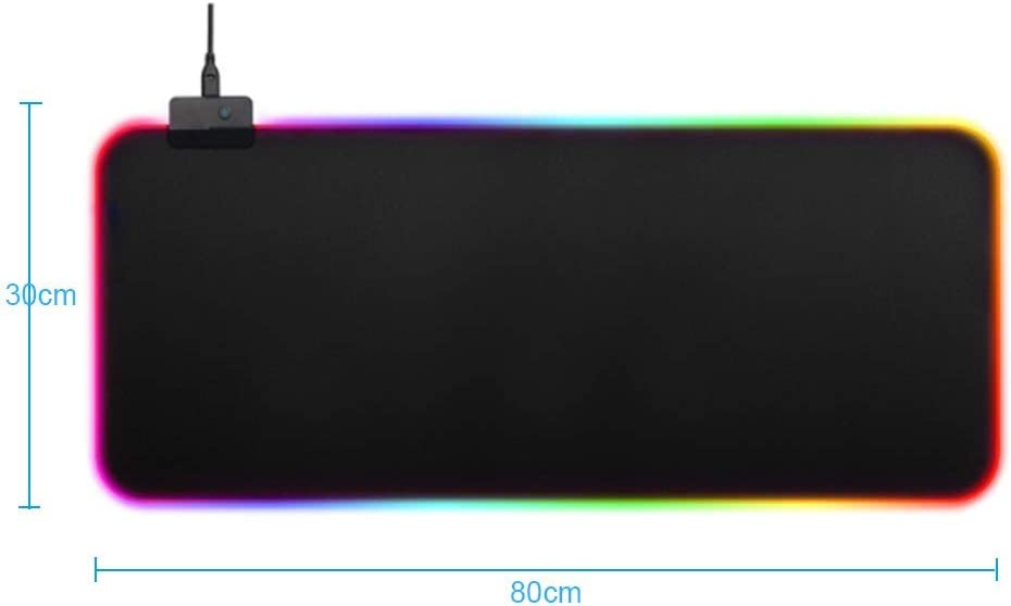 Suitable for PC Non-Slip Rubber Base Computer Keyboard Pad 31.5x11.8 Inches Desktop Laptop Large LED Extended Mouse Pad YWT RGB Soft Gaming Mouse Pad