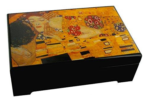 Caja de musica para joyas / joyero musical de madera con reproduccion de un cuadro famoso - Sueno de amor - Liebestraume (Franz Liszt)