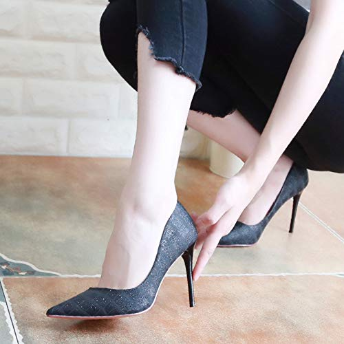 Heel KPHY Pointy Silver Shallow Shoes Shoes Sexy Shoes Silvery Coloring Seven Fine High Heel Thirty Autumn Sequins 9Cm Women'S nqAHw8xqFr
