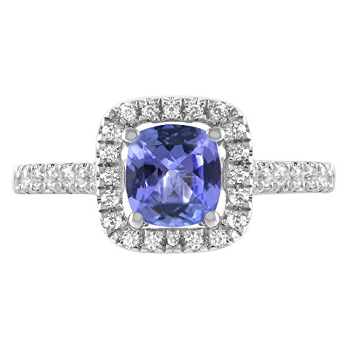 - 6mm Cushion Tanzanite and Created White Sapphire Halo Ring in Sterling Silver (8)
