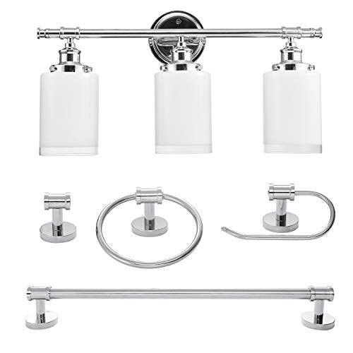 Globe Electric 51415 Camden 5-Piece All-In-One Bathroom Set, Chrome with Frosted - Inch 26 Vanity Set