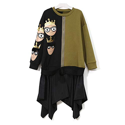 (Contrast Dress Hit Cr Black Army Cartoon Patches with monds Fe Irregular Dress 3091,3091 Multicr,One Size)