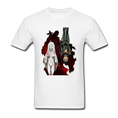 MINNRI Men's Deadman Wonderland T-shirt White XL (Deadman Wonderland Shirt)