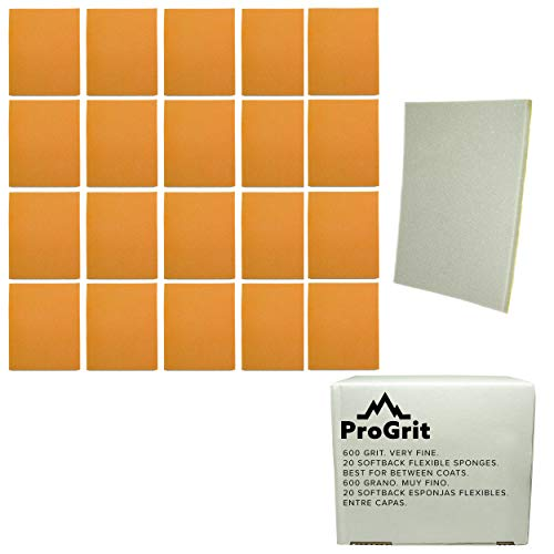 20 Pack ProGrit Sanding Sponges 600 Grit Superfine Between Coats Hand Sander Pads Flexible Softback Wet Dry ()