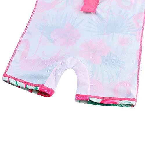 HUAANIUE Baby Girls One Piece Swimsuit Long Sleeve Swimwear UPF 50 UV Sunsuit Cute Icecream Swimming Kids Wetsuit Zipper 4-12Y Swim Clothes